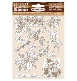 Stamperia HD Natural Rubber Stamp  cm.14x18 Poinsettia