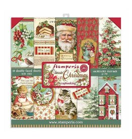 """Stamperia Block 10 Sheets 20.3X20.3  (8""""X8"""") Double Face Classic Christmas"""