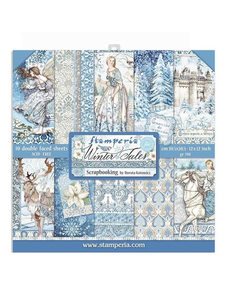 """Stamperia Block 10 sheets 30.5x30.5 (12""""x12"""") Double Face Winter Tales"""