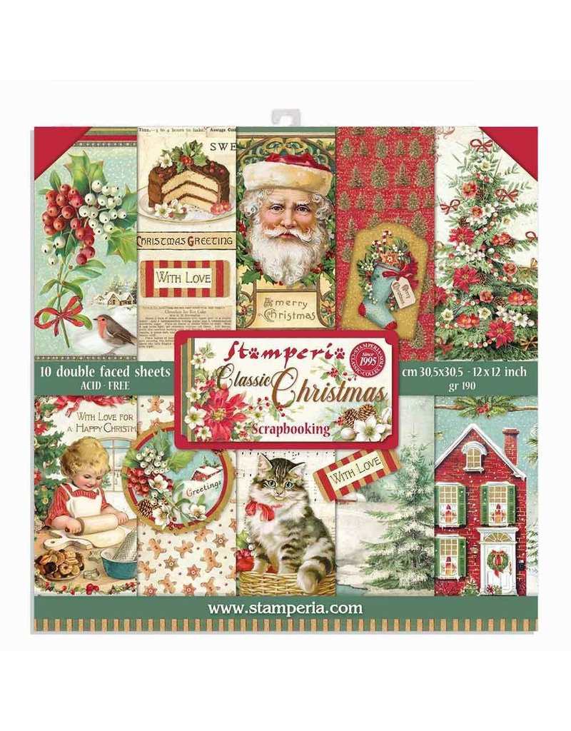 """Stamperia Block 10 sheets 30.5x30.5 (12""""x12"""") Double Face Classic Christmas"""