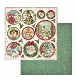 Stamperia Double Face Paper Classic Christmas rounds