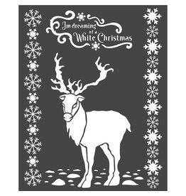 Stamperia Thick stencil cm. 20X25 White Christmas deer