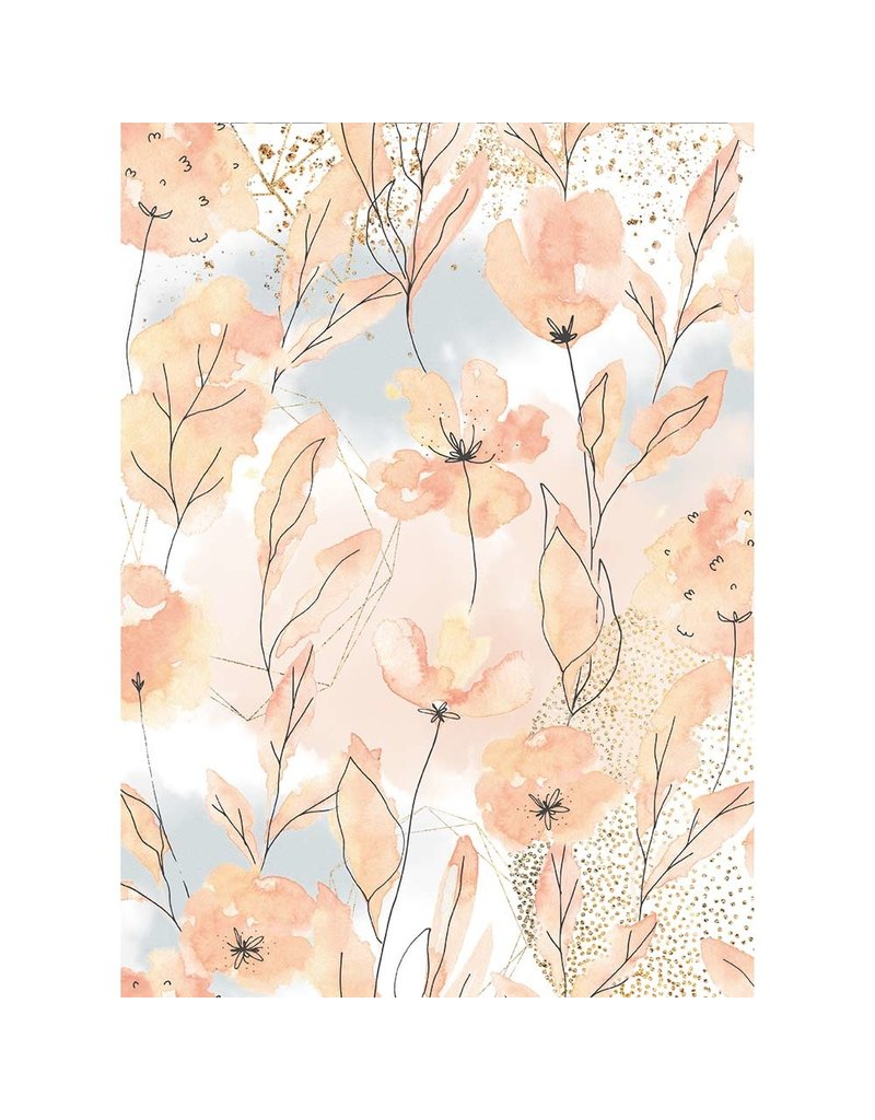 Stamperia A4 Rice paper packed Aquerelle Flower