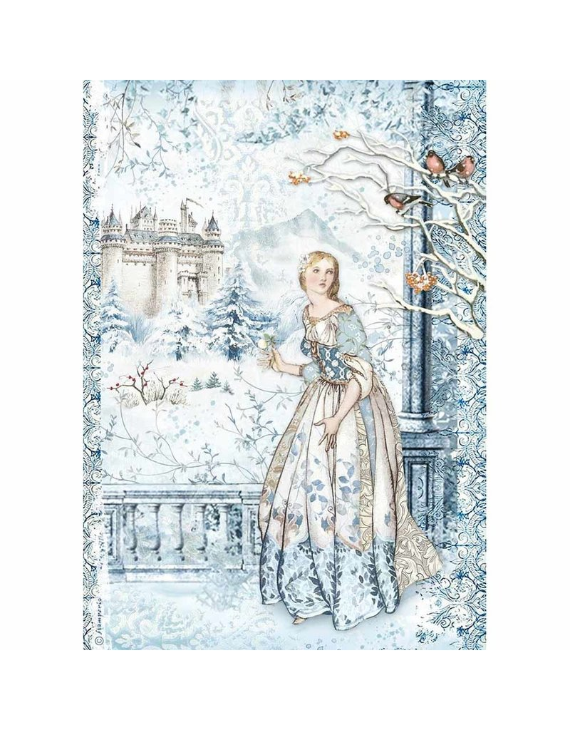 Stamperia A4 Rice paper packed Fairy in the snow