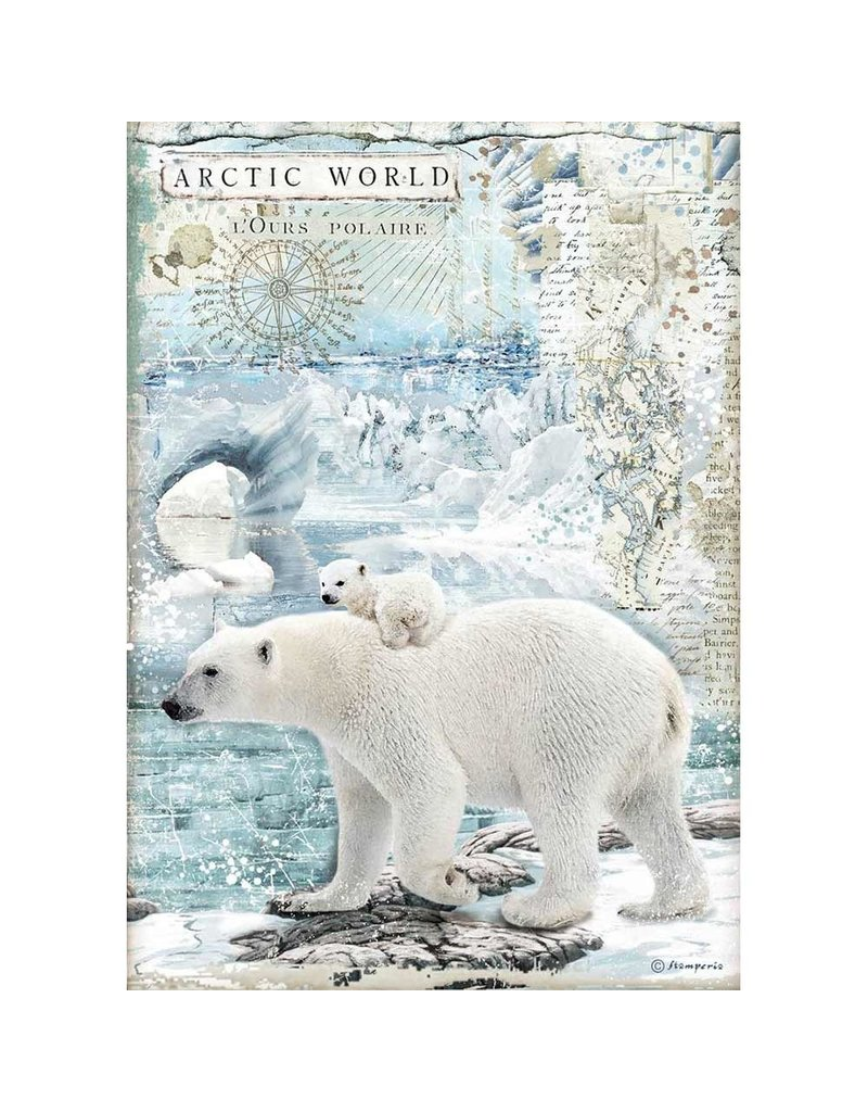 Stamperia A4 Rice paper packed Artic World polar bears