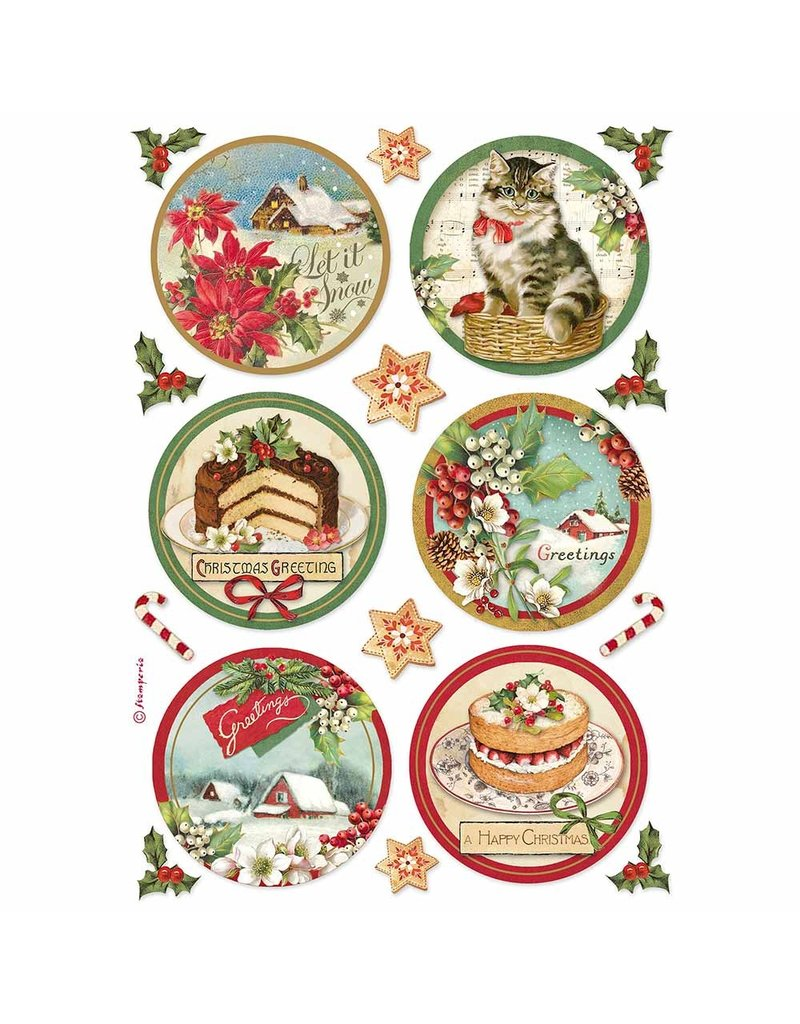 Stamperia A4 Rice paper packed Happy Christmas round