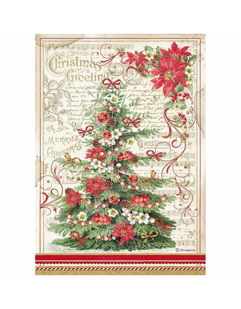 Stamperia A4 Rice paper packed Christmas Greetings tree