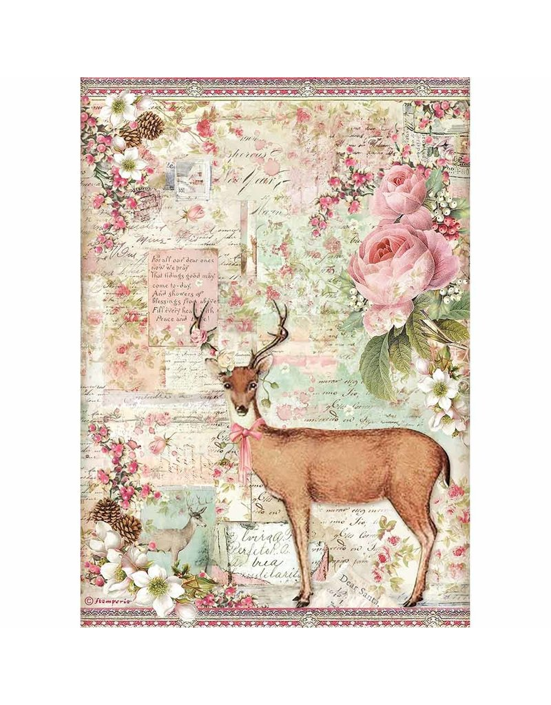 Stamperia A4 Rice paper packed Christmas deer