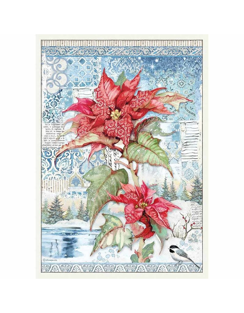 Stamperia A3 Rice paper packed Poinsettia red