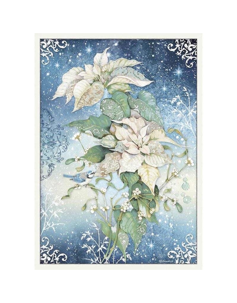 Stamperia A3 Rice paper packed Poinsettia white
