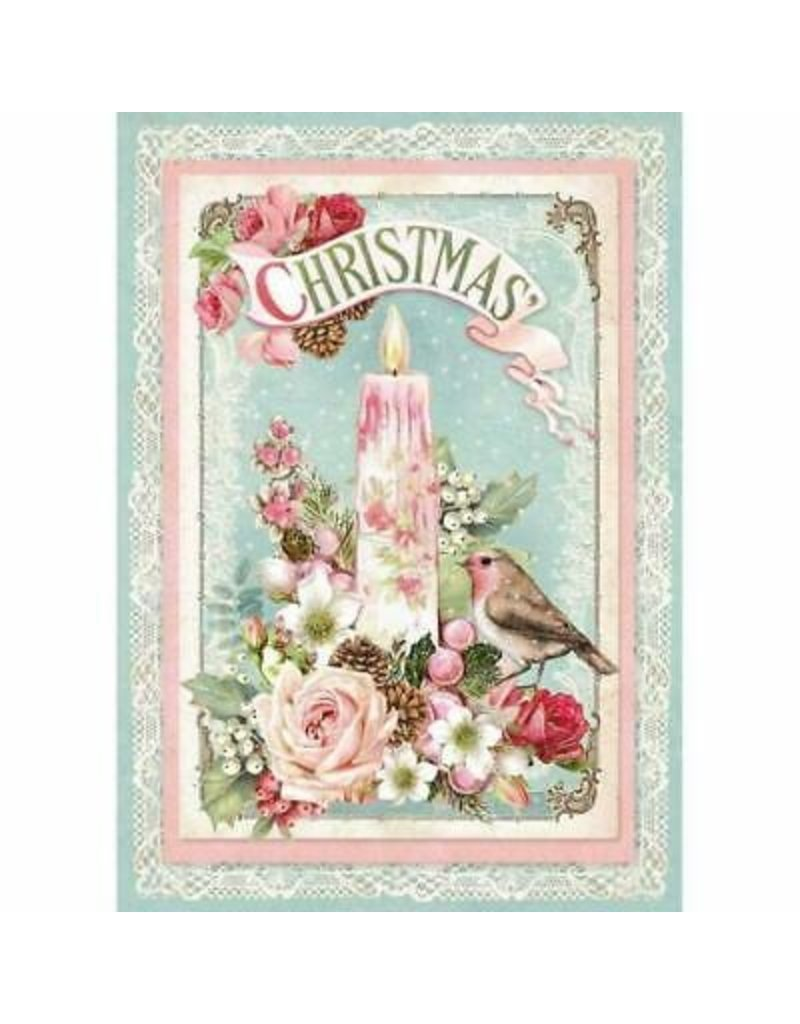 Stamperia A4 Rice Paper packed - Pink Christmas Candle