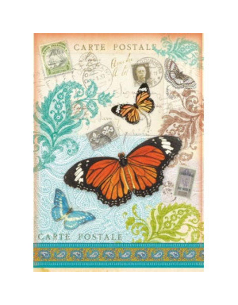 Stamperia A4 Rice Paper packed - Postcard with Butterfly