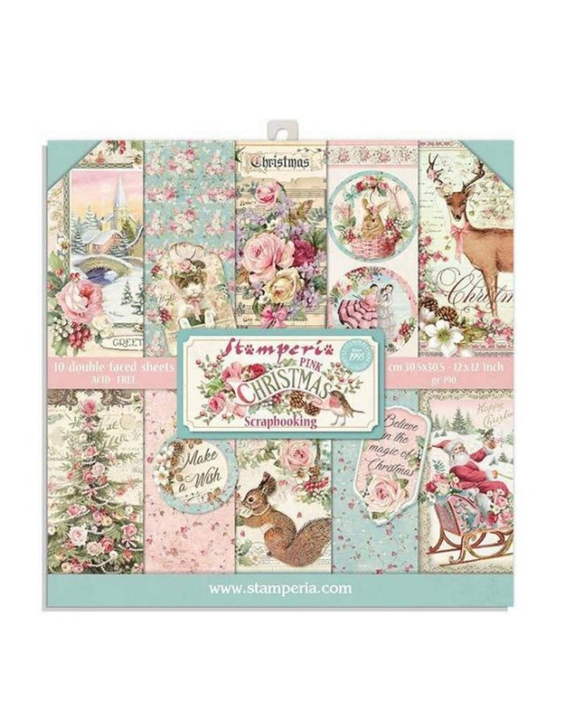 Stamperia Block 10 sheets 20.3x20.3(8x8) Double face Pink Christmas