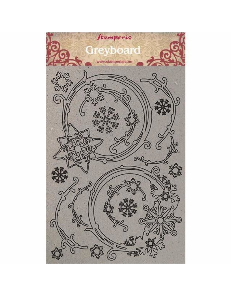 Stamperia A4 Greyboard/1 mm Snowflakes and garlands