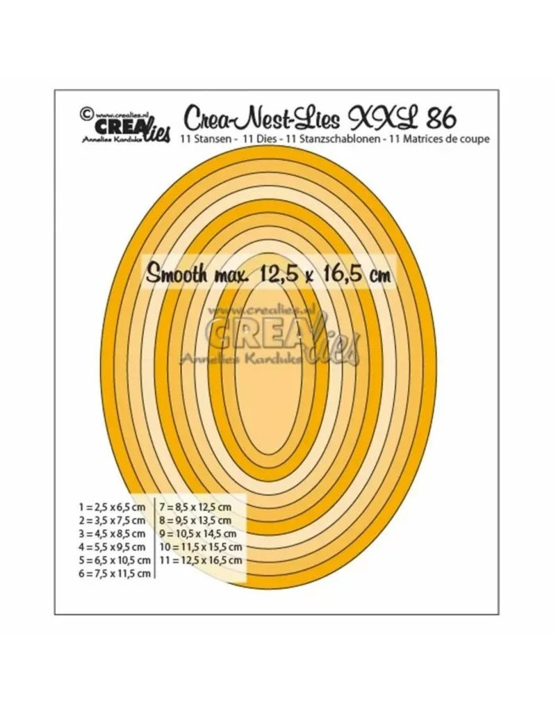 Crealies Crealies • Crea-Nest-Lies XXL gladde ovalen halve cm