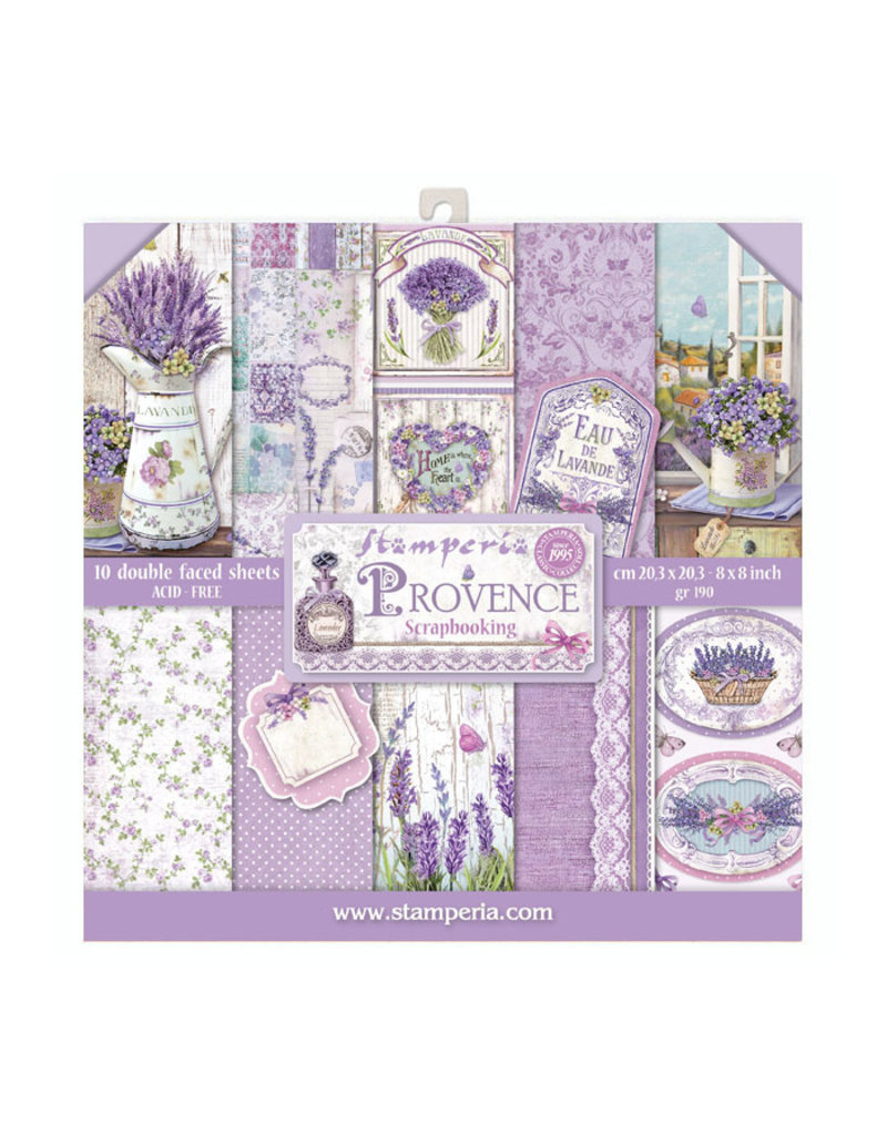 """Stamperia Block 10 sheets 20.3x20.3 (8""""x8"""") Double Face Provence"""