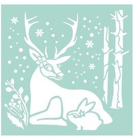 Stamperia Thick stencil 18x18 cm Reindeer and Rabbit