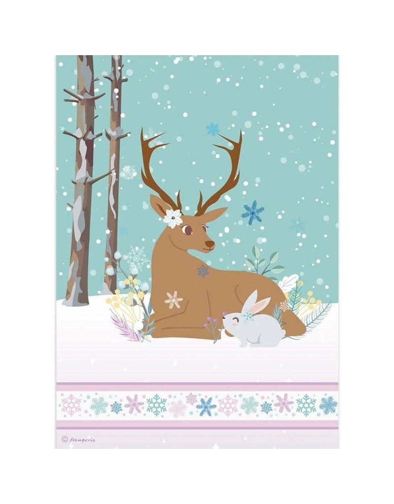 Stamperia A4 Rice paper packed Reindeer