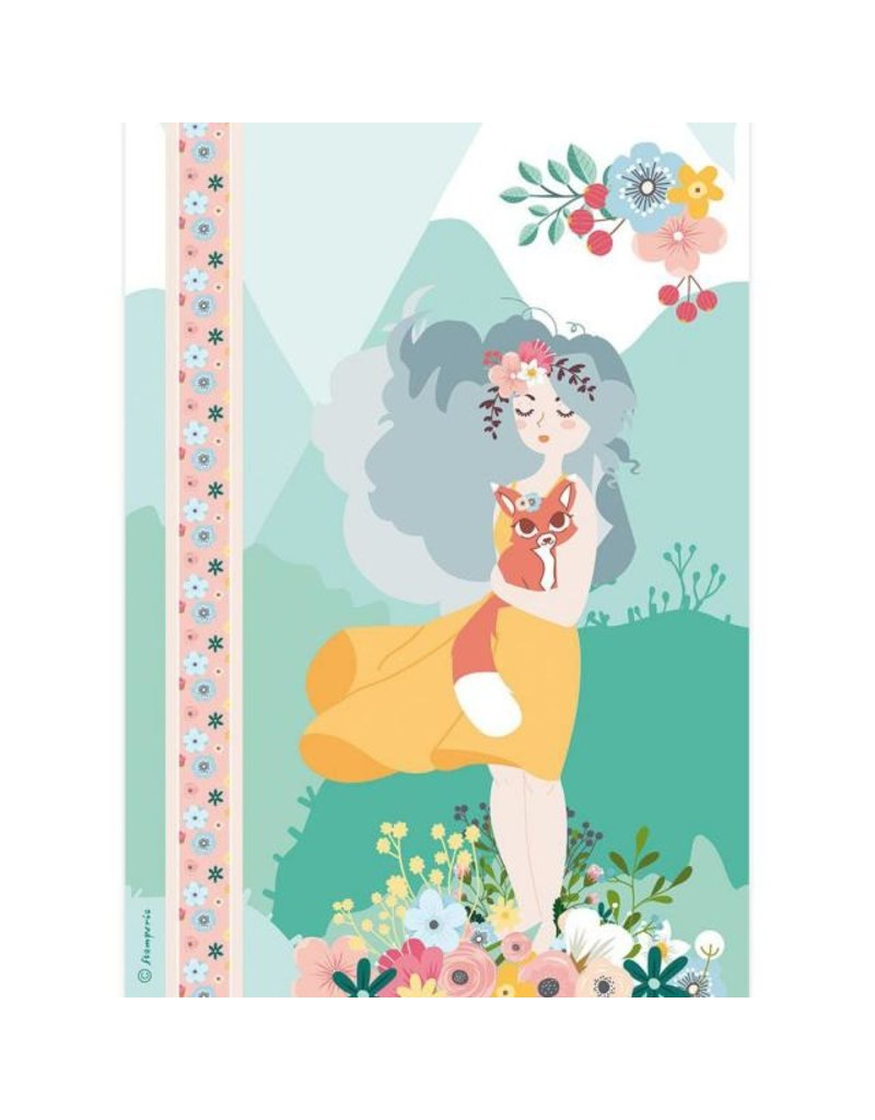 Stamperia A4 Rice paper packed Girl with fox