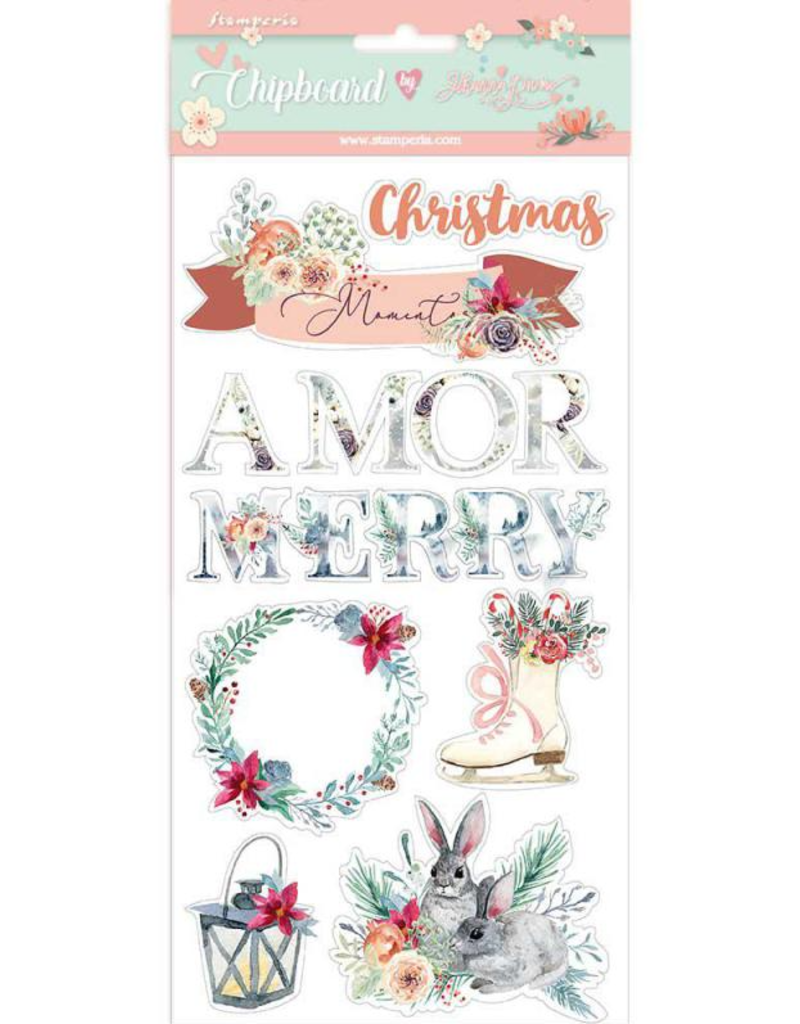 Stamperia Chipboard 15x30 cm. Amor Merry Christmas