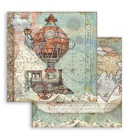 Stamperia Scrapbooking paper double face Sir Vagabond flying train
