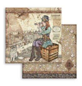 Stamperia Scrapbooking paper double face Lady Vagabond and cat