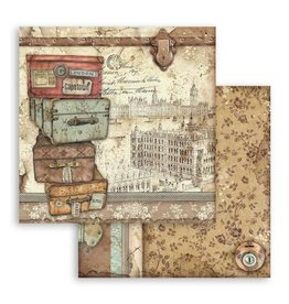 Stamperia Scrapbooking paper double face Lady Vagabond luggage