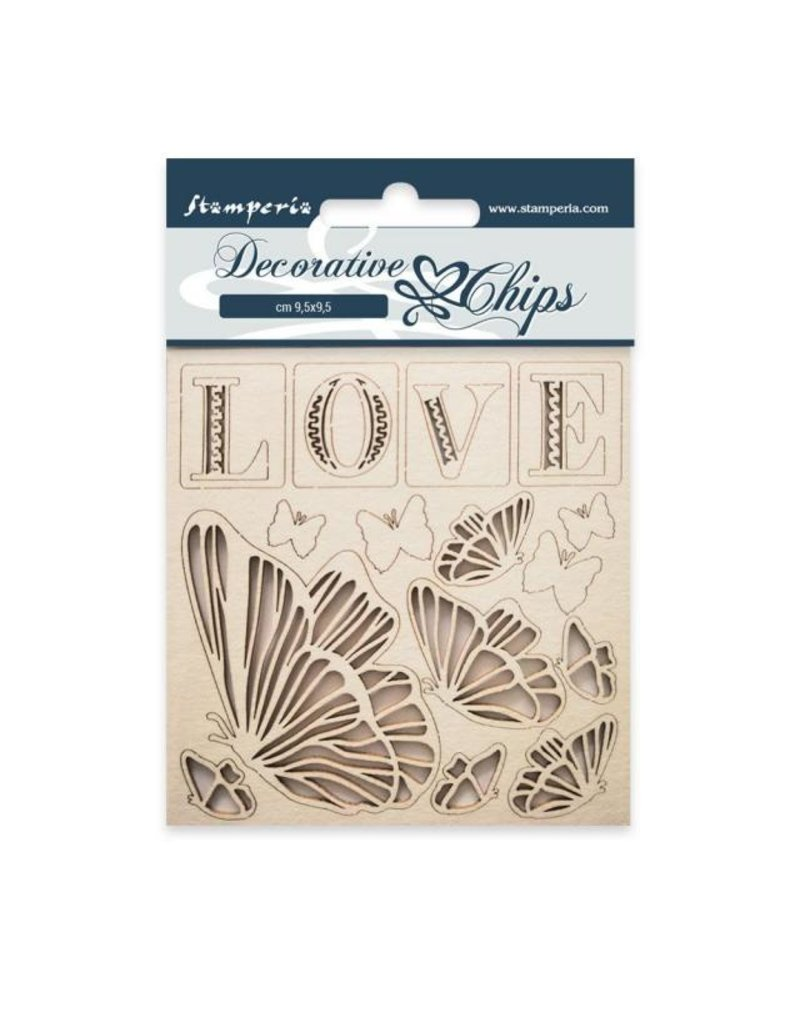 Stamperia Decorative chips cm 9,5x9,5 Love