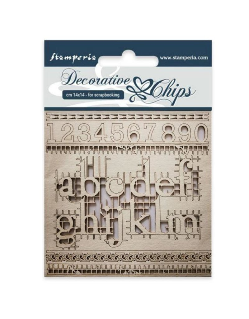 Stamperia Decorative chips cm 14x14 Alphabet and numbers