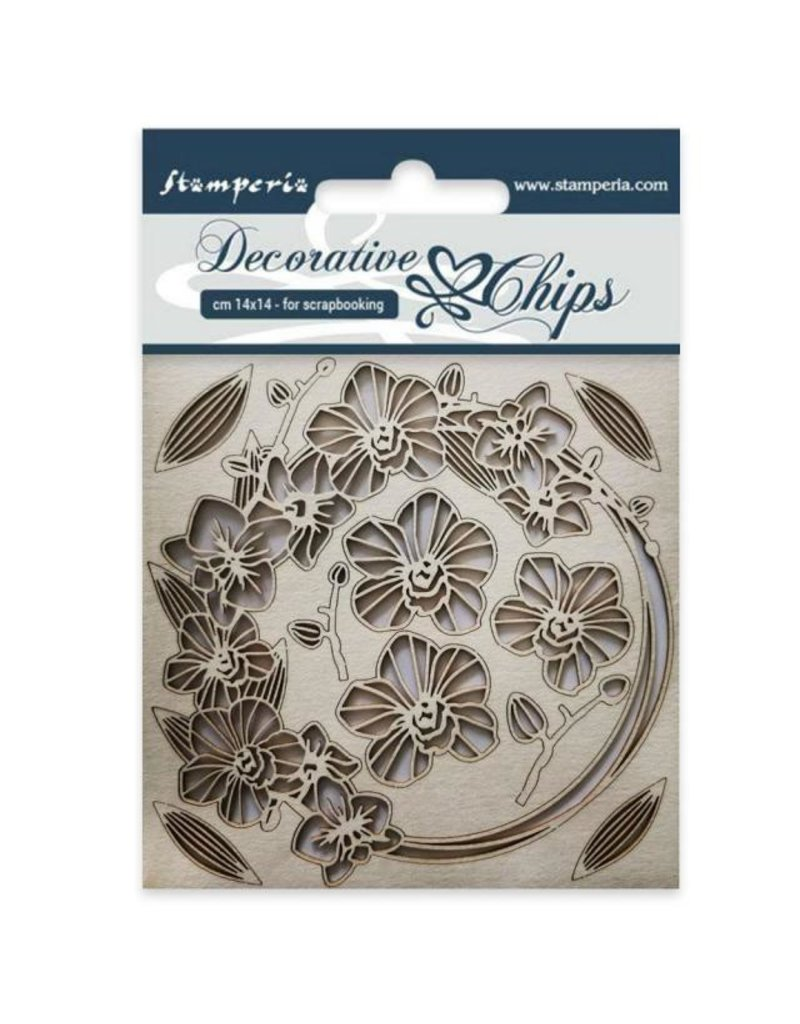 Stamperia Decorative chips cm 14x14 Garland of flowers