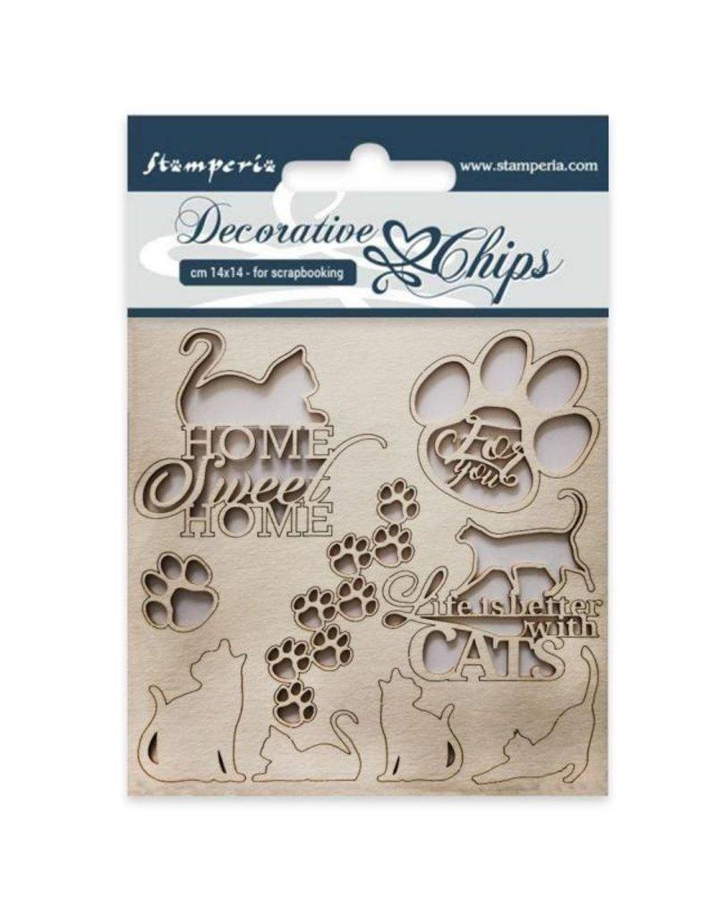 Stamperia Decorative chips cm 14x14 Cats