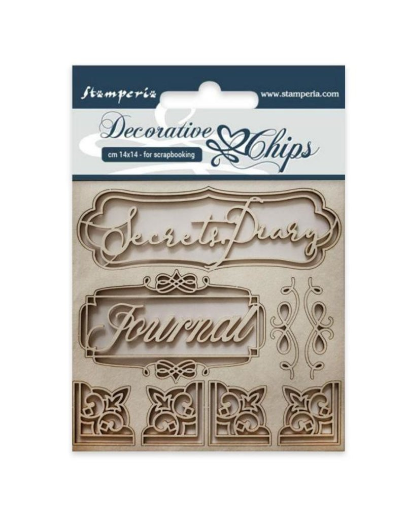 Stamperia  Decorative chips cm 14x14 Secret diary