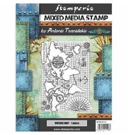Stamperia Stamp cm 15x20 Sir Vagabond vintage map