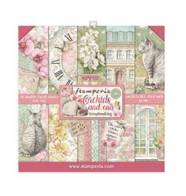 Stamperia Scrapbooking Mini Pad 10 sheets 20,3x20,3 cm  Orchids and Cats