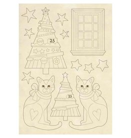 Stamperia Wooden shape A5 - Trees and cats
