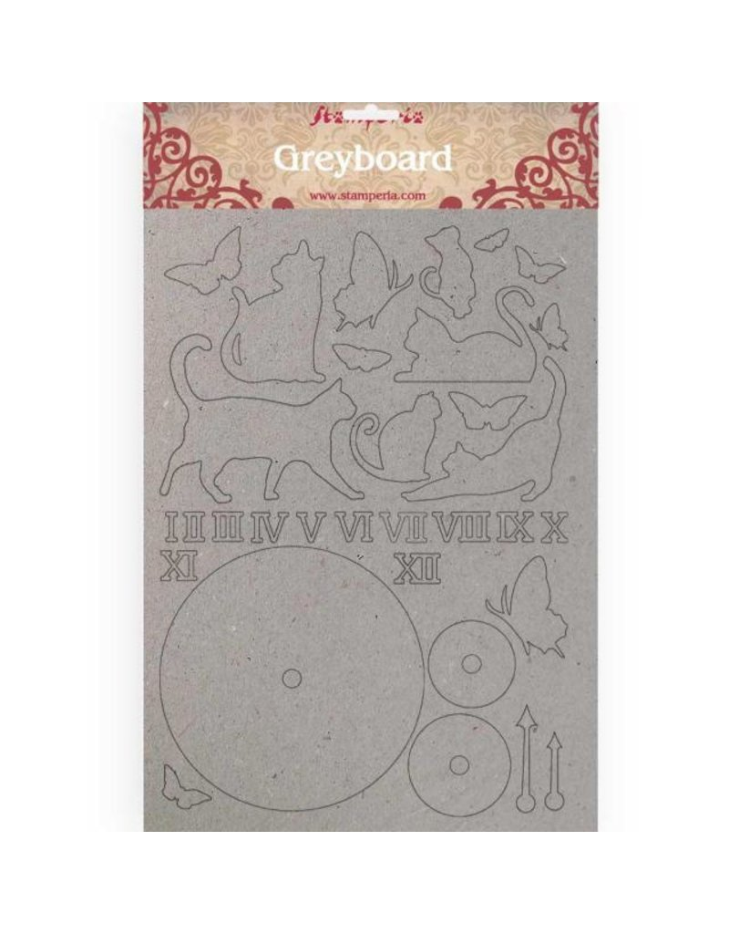 Stamperia A4 Greyboard /2 mm Cats and clock