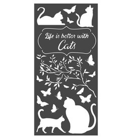 Stamperia Thick stencil cm 12x25 Life is better with cats