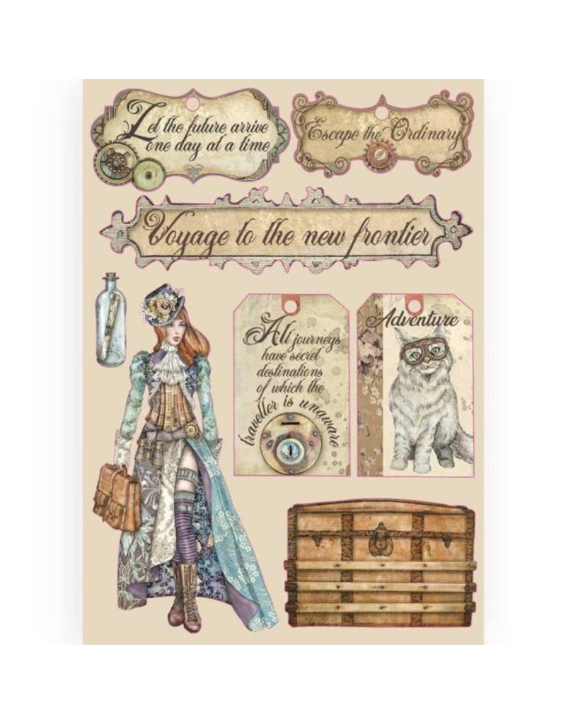 Stamperia Colored Wooden frame A5 - Lady Vagabond labels