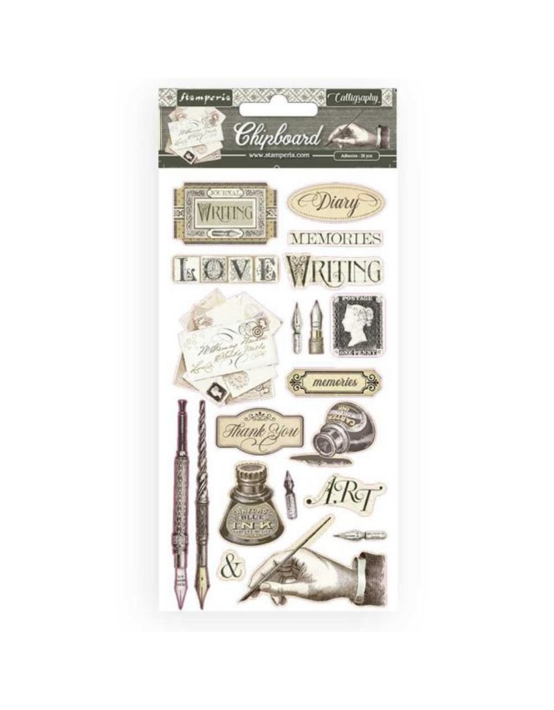 Stamperia Chipboard cm 15x30 - Calligraphy