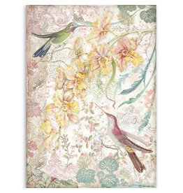 Stamperia A4 Rice paper packed Yellow orchids and birds