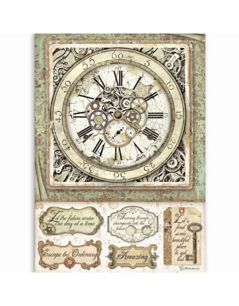 Stamperia A4 Rice paper packed Lady Vagabond clock with mechanisms