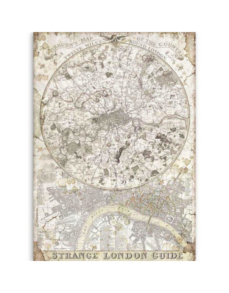 Stamperia A4 Rice paper packed Lady Vagabond strange London guide
