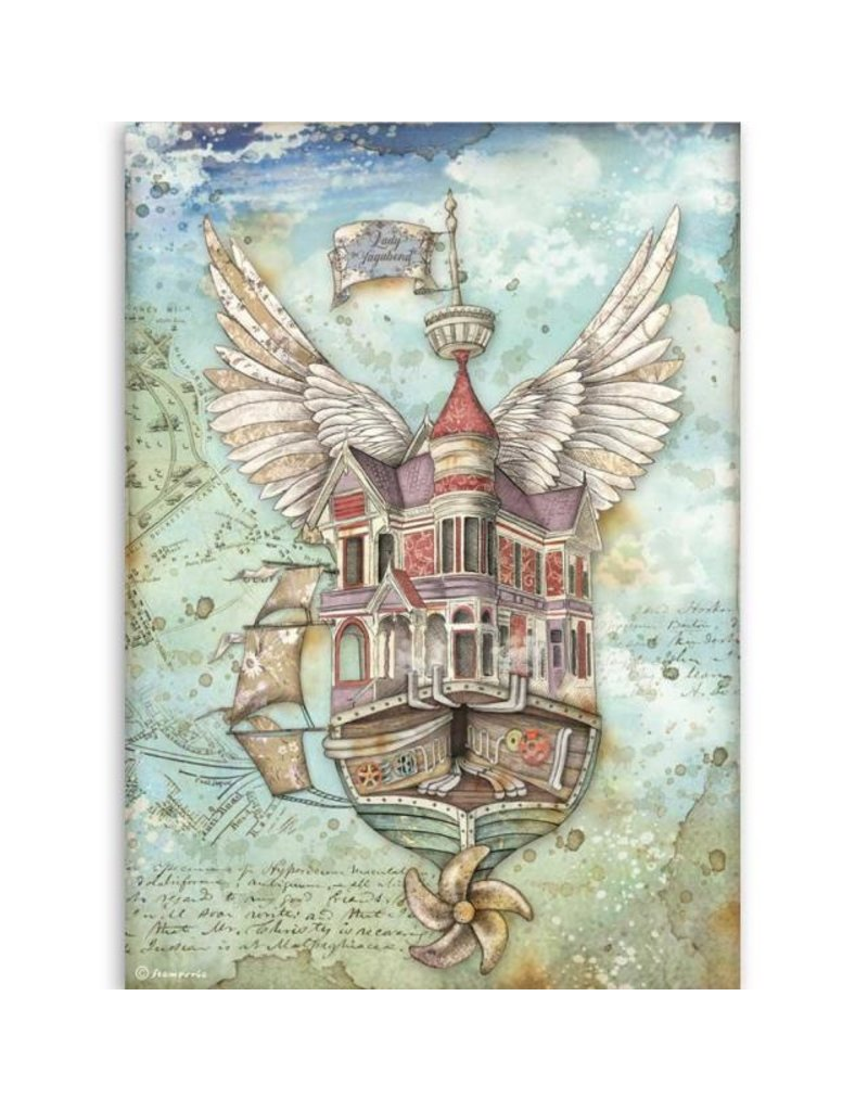 Stamperia A4 Rice paper packed Lady Vagabond flying ship