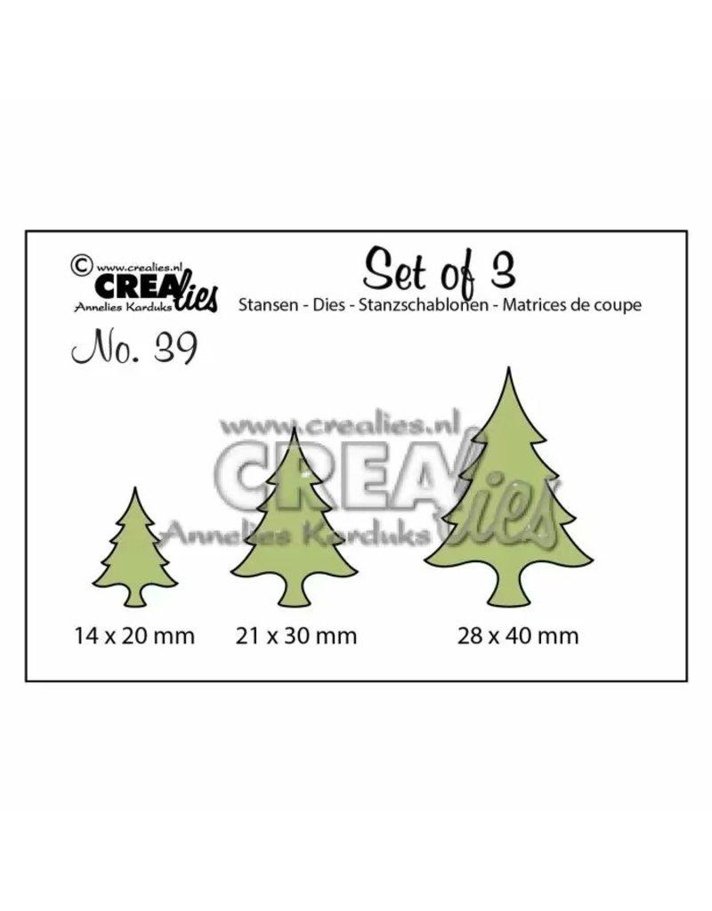 Crealies Crealies • Set van 3 snijmallen no.39 Kerstbomen dun