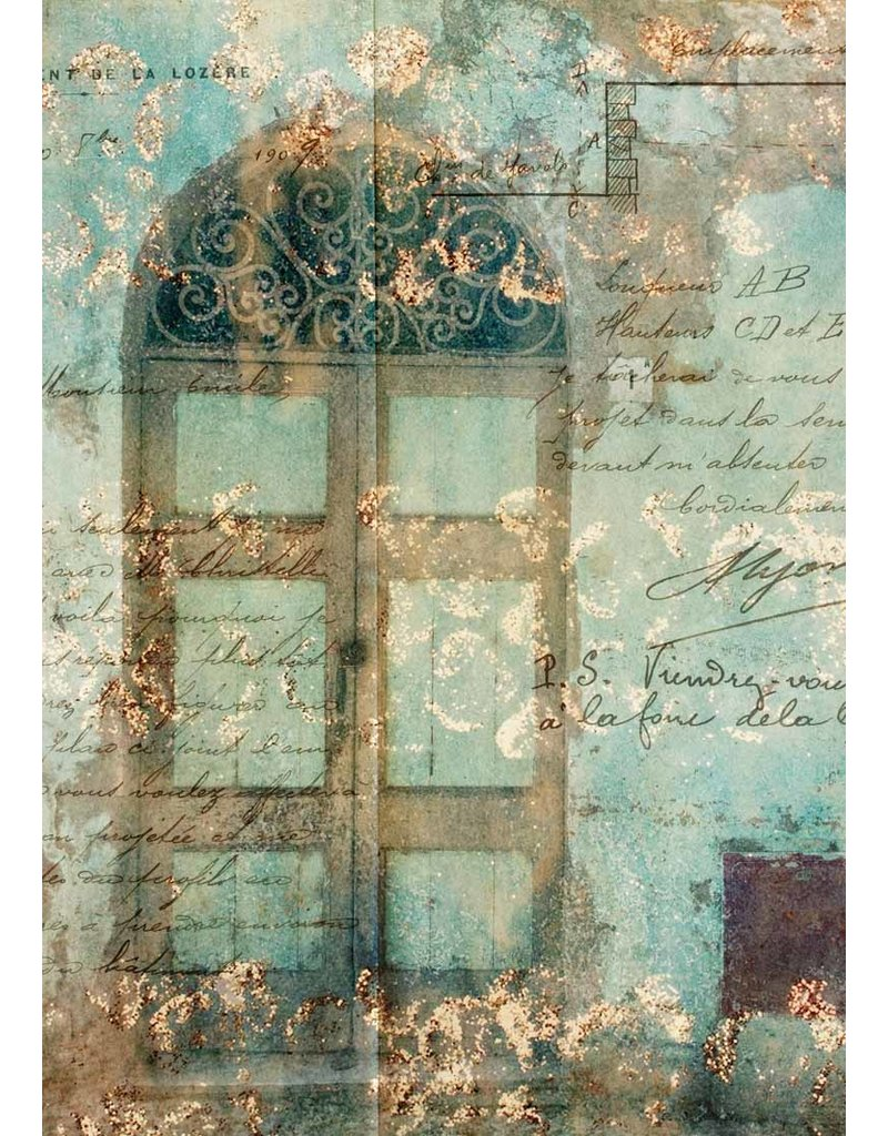 Decoupage Queen Antique Door with Scrollwork Rice Paper A3