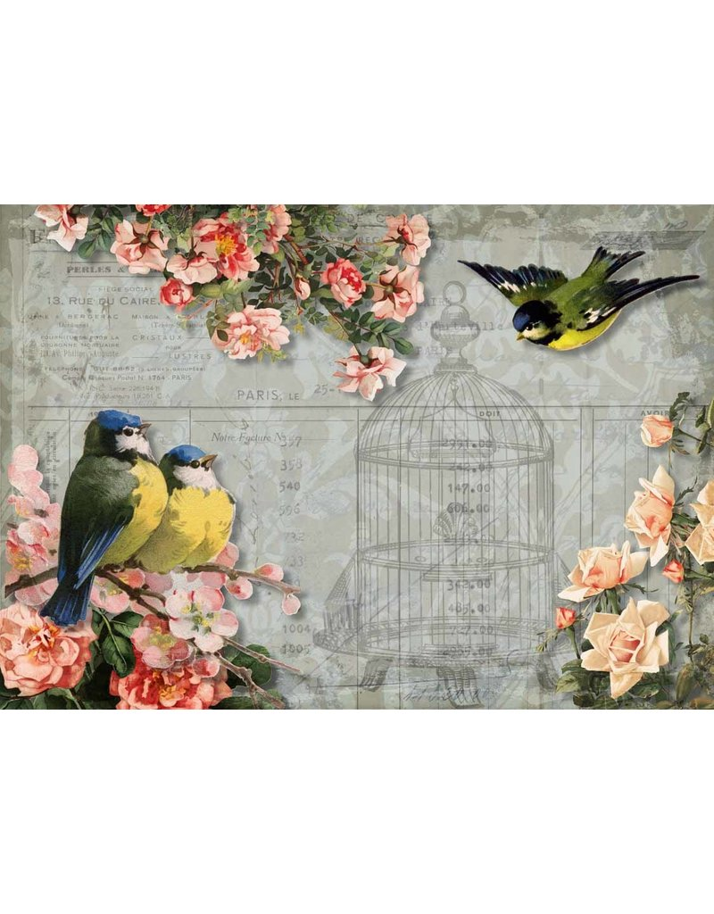 Decoupage Queen Chickadees and Roses with Birdcage A3