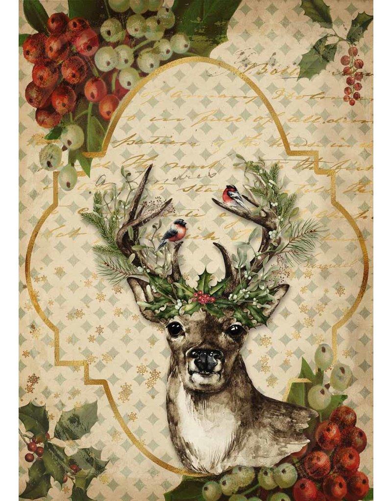 Decoupage Queen Christmas Reindeer A3