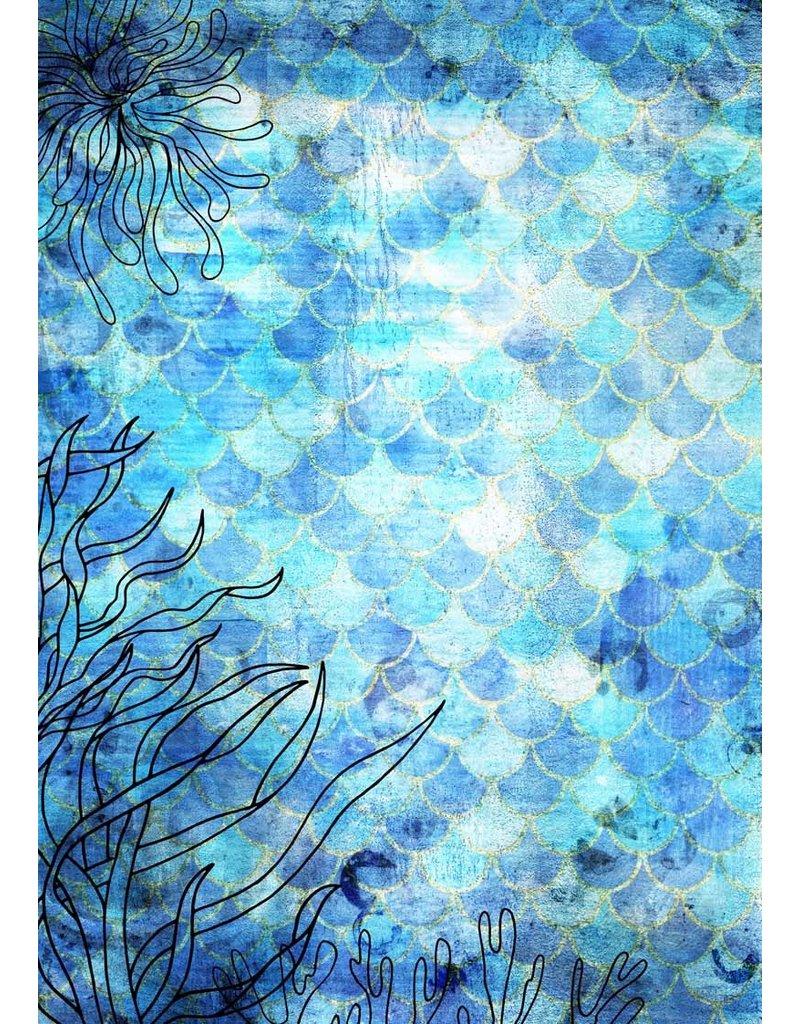 Decoupage Queen Deep Blue Mermaid Scales A4