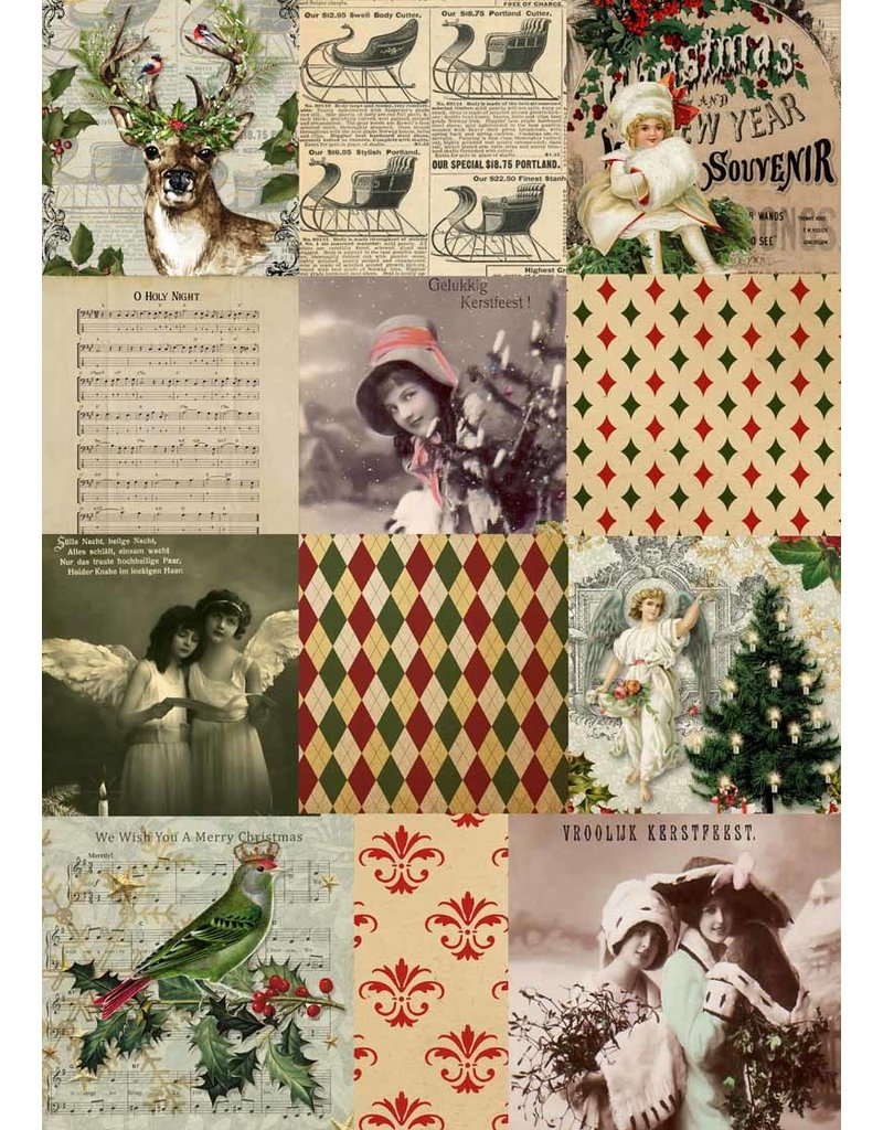Decoupage Queen Christmas Squares A4