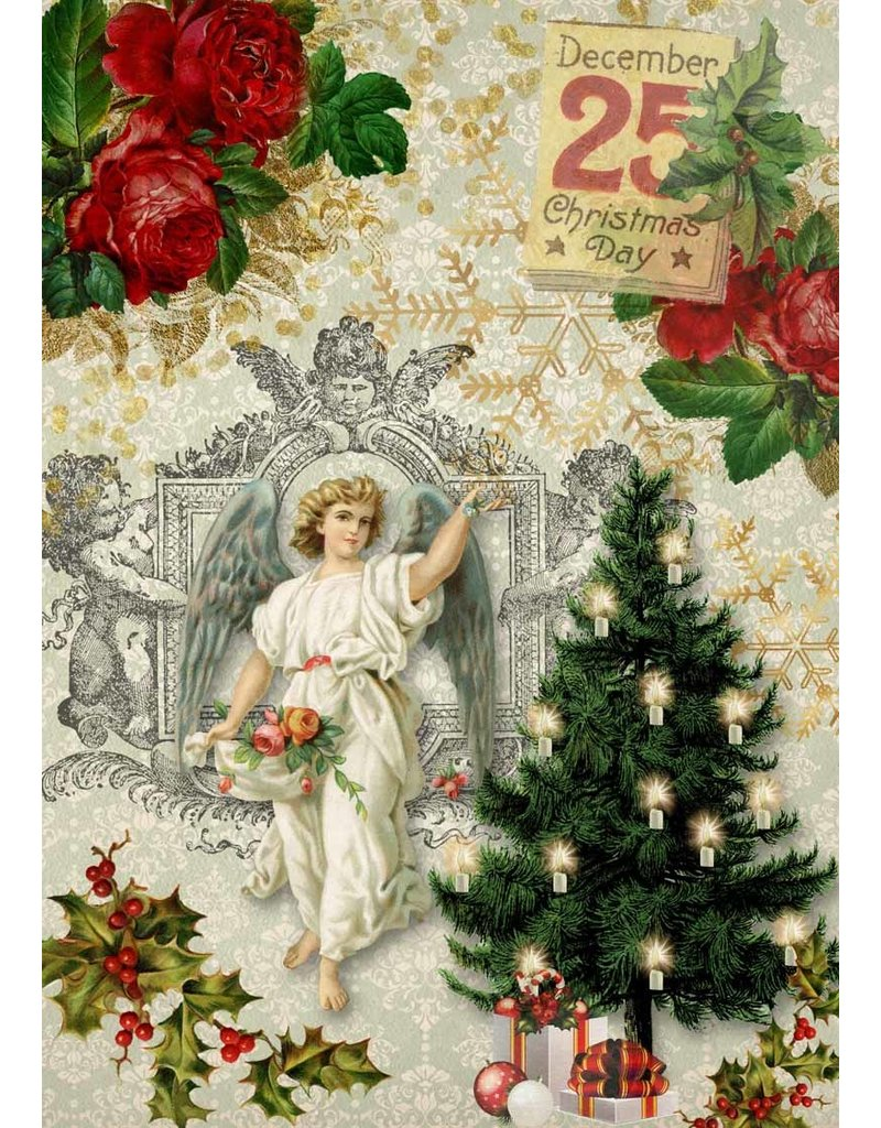 Decoupage Queen Christmas Angel with Tree A4